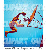 Clip Art of a Low Angle View of a Basketball Player Jumping High to Dunk the Ball in the Hoop During Practice by Tonis Pan