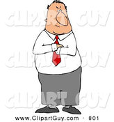 Clip Art of a Mad Caucasian Businessman Standing with His Arms Crossed with an Angry Face by Djart