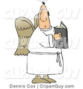 Clip Art of a Male Angel Holding an Open Bible by Djart
