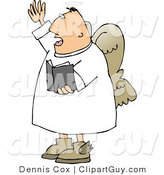 Clip Art of a Male Angel Preaching out to a Church from the Bible by Djart