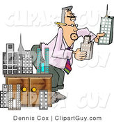 Clip Art of a Male Architect Putting a Styrofoam Model City Together by Djart