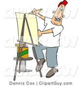 Clip Art of a Male Artist Drawing Caricature on Posterboard by Djart