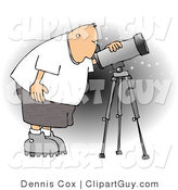 Clip Art of a Male Astronomer Bending to Look at the Sky Through a Telescope by Djart