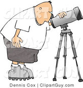 Clip Art of a Male Astronomer Bending to Look Through a Telescope by Djart
