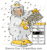 Clip Art of a Male Beekeeper Checking His Apiary (Bee Hives) by Djart