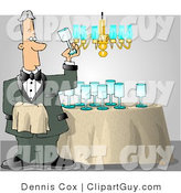 Clip Art of a Male Butler Cleaning and Polishing Wine Glasses Before a Party by Djart