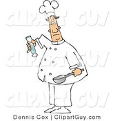 Clip Art of a Male Chef with a Saute Pan and a Salt Shaker by Djart