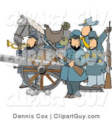 Clip Art of a Male Civil War Soldiers and Horse, Armed with a Cannon and Rifles by Djart