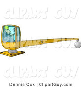 Clip Art of a Male Construction Worker Operating a Heavy Equipment Crane with a Magnetic Ball by Djart