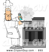 Clip Art of a Male Cook Lifting a Smoking Skillet from a Hot Stove by Djart