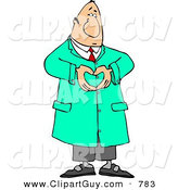 Clip Art of a Male Doctor in Green Scrubs Hand Gesturing a Heart Symbol by Djart