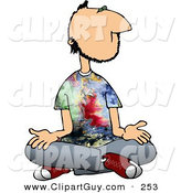 Clip Art of a Male Hippie with Tie-Dye T-Shirt Crossing His Legs and Meditating Silently by Djart