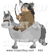 Clip Art of a Male Indian Sitting on a Horse with Bow an Arrow in Hand by Djart
