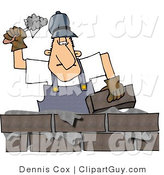 Clip Art of a Male Mason, Builder Cementing a Brick Wall by Djart