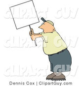 Clip Art of a Male Protester Holding up a Blank White Sign by Djart