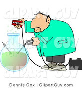 Clip Art of a Male Scientist in a Lab Coat Experimenting with Chemicals by Djart