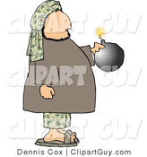 Clip Art of a Male Suicide Bomber Holding a Bomb with a Burning Fuse by Djart