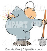 Clip Art of a Male Worker with Back Pain While Shoveling by Djart
