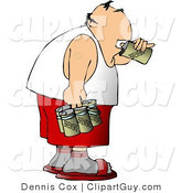 Clip Art of a Man Chugging a Six Pack of Beer by Djart