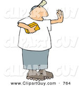 Clip Art of a Man Holding a Gold Brick and Hand Gesturing for Someone to Stop, Protecting It by Djart
