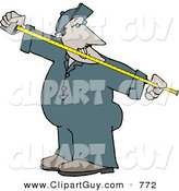 Clip Art of a Man Measuring Something with a Tape Measure on White by Djart