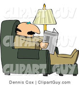 Clip Art of a Man Reading the Paper While Sitting on a Recliner in His Livingroom by Djart