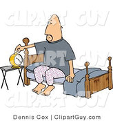 Clip Art of a Man Setting His Alarm Clock Before Going to Sleep in His Bedroom at Night by Djart
