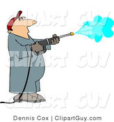 Clip Art of a Man Spraying a Wall with a Pressure Washer by Djart