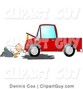 Clip Art of a Man Trying to Give a Leaking Red Pickup Truck an Oil Change by Djart