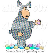 Clip Art of a Man Wearing an Colorful Easter Costume and Holding a Decorated Easter Egg by Djart