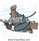 Clip Art of a Mexican or Black Repairman Working with Cable Wires by Djart