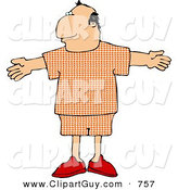 Clip Art of a Middle Aged Man Wearing Pajamas, with His Arms Open for a Hug by Djart