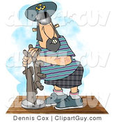 Clip Art of a Middle Aged Ship Captain Navigating His Vessel by Djart