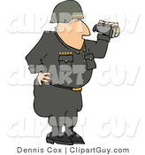 Clip Art of a Military Five Star General Looking Through Binoculars by Djart