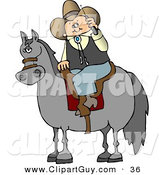 Clip Art of a Modern White Cowboy Sitting on a Saddled Horse While Talking on a Cellphone by Djart