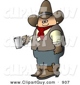 Clip Art of a Morning Caucasian Cowboy Holding a Cup of Fresh Hot Coffee by Djart