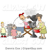 Clip Art of a Mother, Father, Son, and Daughter Grilling Barbecue Hamburgers by Djart