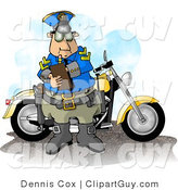 Clip Art of a Motorcycle Police Officer Man Filling out a Traffic Citation/Ticket Form by Djart