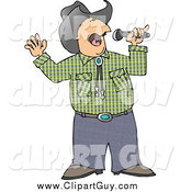 Clip Art of a Muscial Cowboy Singing Country Music by Djart