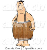 Clip Art of a Naked Man Wearing a Wood Barrel Around His Waist by Djart