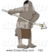 Clip Art of a Native African Man Holding a Sharp Pointed Spear by Djart