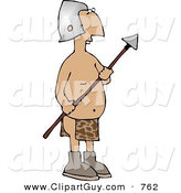 Clip Art of a Native Roman Guard Holding a Spear Weapon by Djart