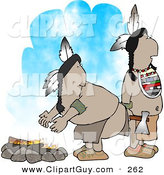 Clip Art of a Pair of Native American Indians Standing Alertly Beside a Campfire by Djart