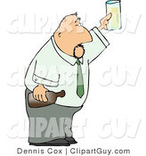 Clip Art of a Partying Businessman Holding a Glass and Bottle of Beer Raised High by Djart