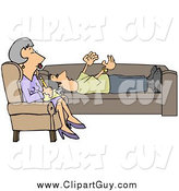 Clip Art of a Patient Middle Aged White Therapist Woman, Listening to a Male Patient by Djart