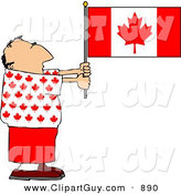 Clip Art of a Patriotic Caucasian Canadian Man Holding a Canadian Flag by Djart