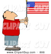 Clip Art of a Patriotic Caucasian Man Holding an American Flag by Djart