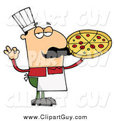 Clip Art of a Pleased Male Pizza Chef with His Perfect Pie by Hit Toon