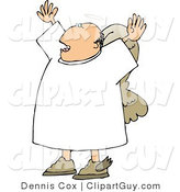 Clip Art of a Preaching Angel, His Arms up by Djart