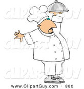 Clip Art of a Professional Caucasian Male Chef Carrying a Covered Serving Plate by Djart